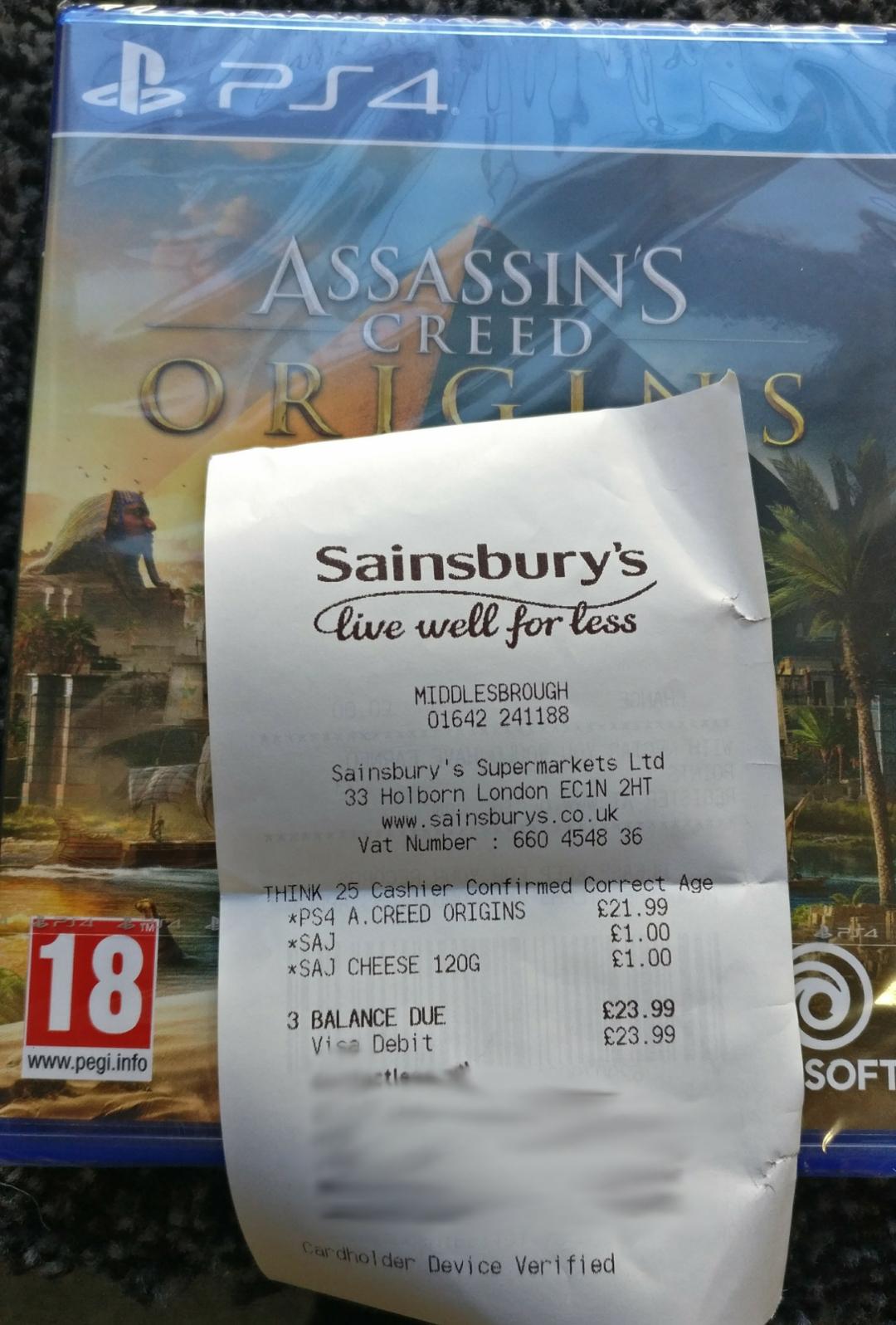 Assassins Creed Origins PS4 - Sainsbury's £21.99 instore