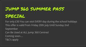 Jump 360 'summer pass' for £30 - can be used at Stockton, Hartlepool and Newcastle trampoline parks