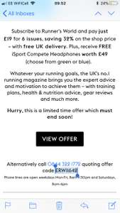 Runners World 6 months subscription - free headphones worth £49.99 Hearst magazines - £19