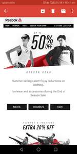 Reebok outlet sale upto 50% again with extra 20% off code