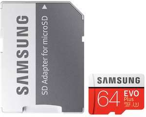 Samsung 64GB Evo Plus Micro SD Card (SDXC) UHS-I U3 + Adapter - 100MB/s £15.97 or 2 for £29  (£14.50 each if you buy 2) at MyMemory