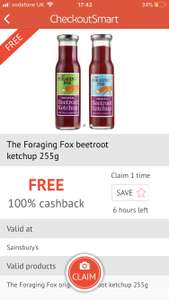 FREE 100% Cashback on Foraging Fox Beetroot Ketchup £2.20 from Sainsburys @ CheckoutSmart