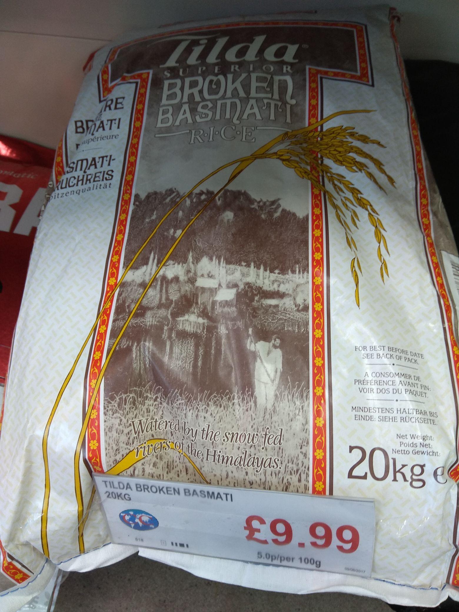 Tilda Superior Broken Basmati Rice 20kg - £9.99 instore @ CC Continental Supermarket (Leeds)