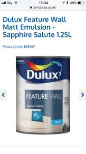 Dulux Feature Wall Matt Emulsion - Sapphire Salute 1.25L - £1 @ B&M