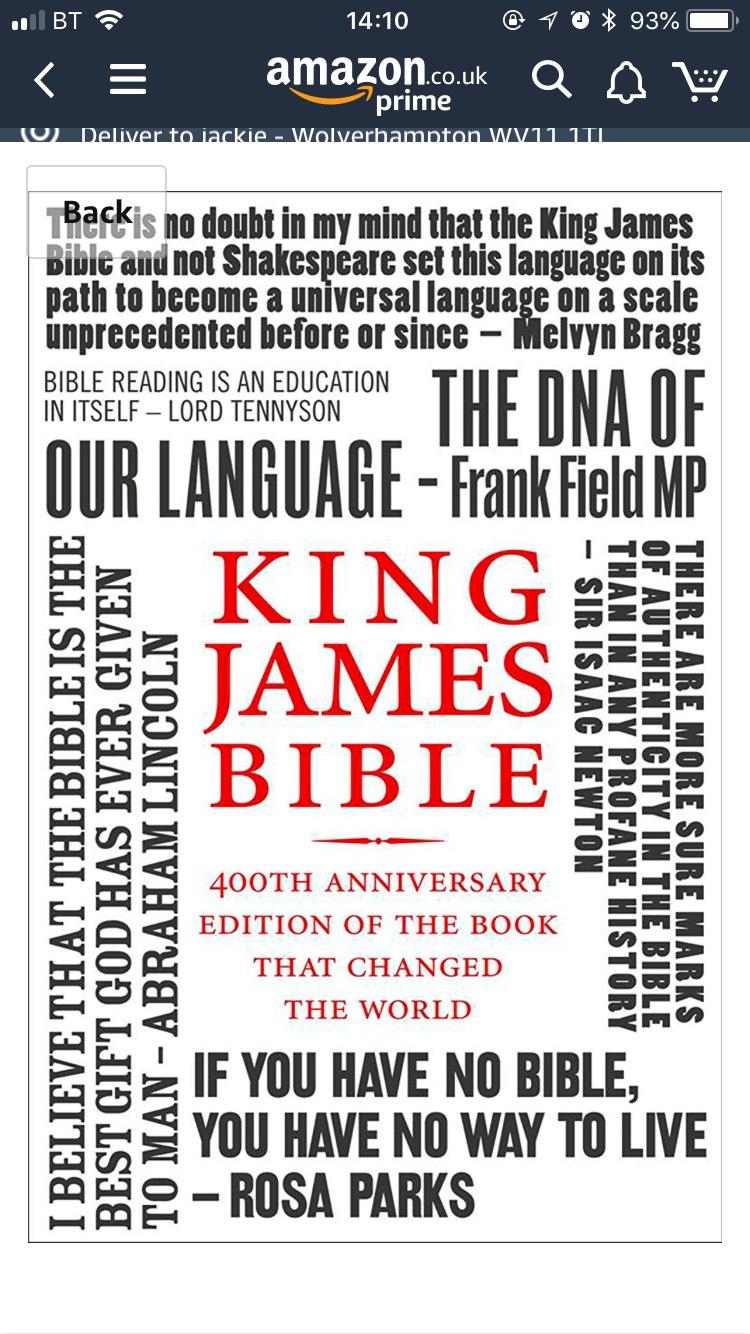 The King James Bible - 400th Anniversary Edition - 75p @ Kindle
