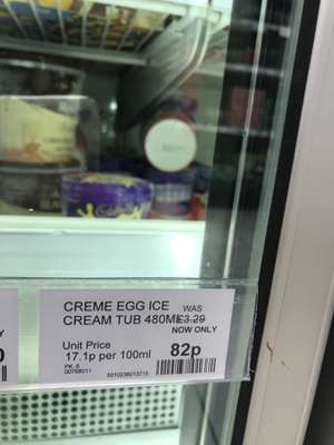 Creme Egg Ice Cream Tub 480ml 82p in store at Co-Op