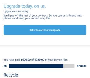 o2 upgrade early and o2 will pay remaining balance off