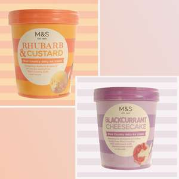 Rhubarb & Custard OR  Blackcurrant Cheesecake Ice-cream £1.50 per 500ml tub in store  @ M&S