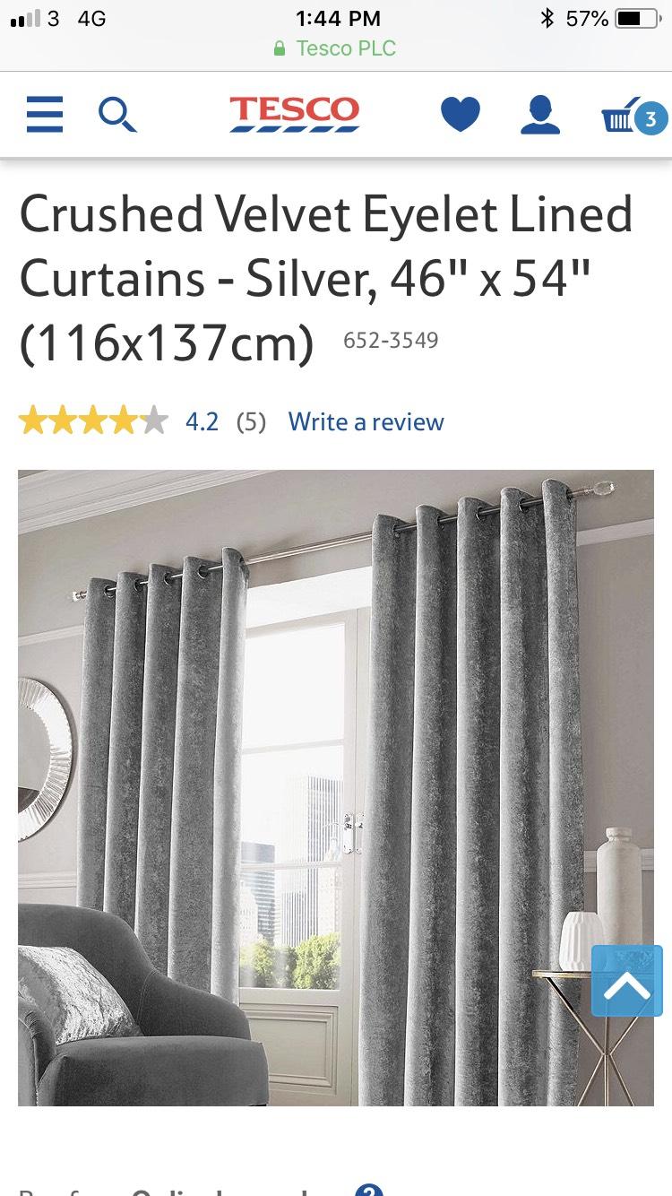 Crushed Velvet Eyelet Lined Curtain £15.99 @ Tesco Direct
