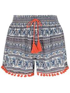 Ladies/Girls Pom-Pom Trim Printed Shorts £5 @ Asda Free c&c