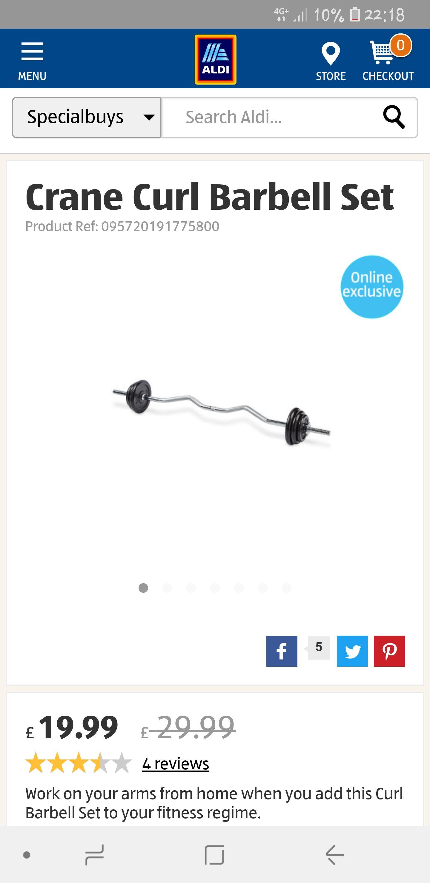 Aldi Crane curl barbell set - £19.99 @ ALDI