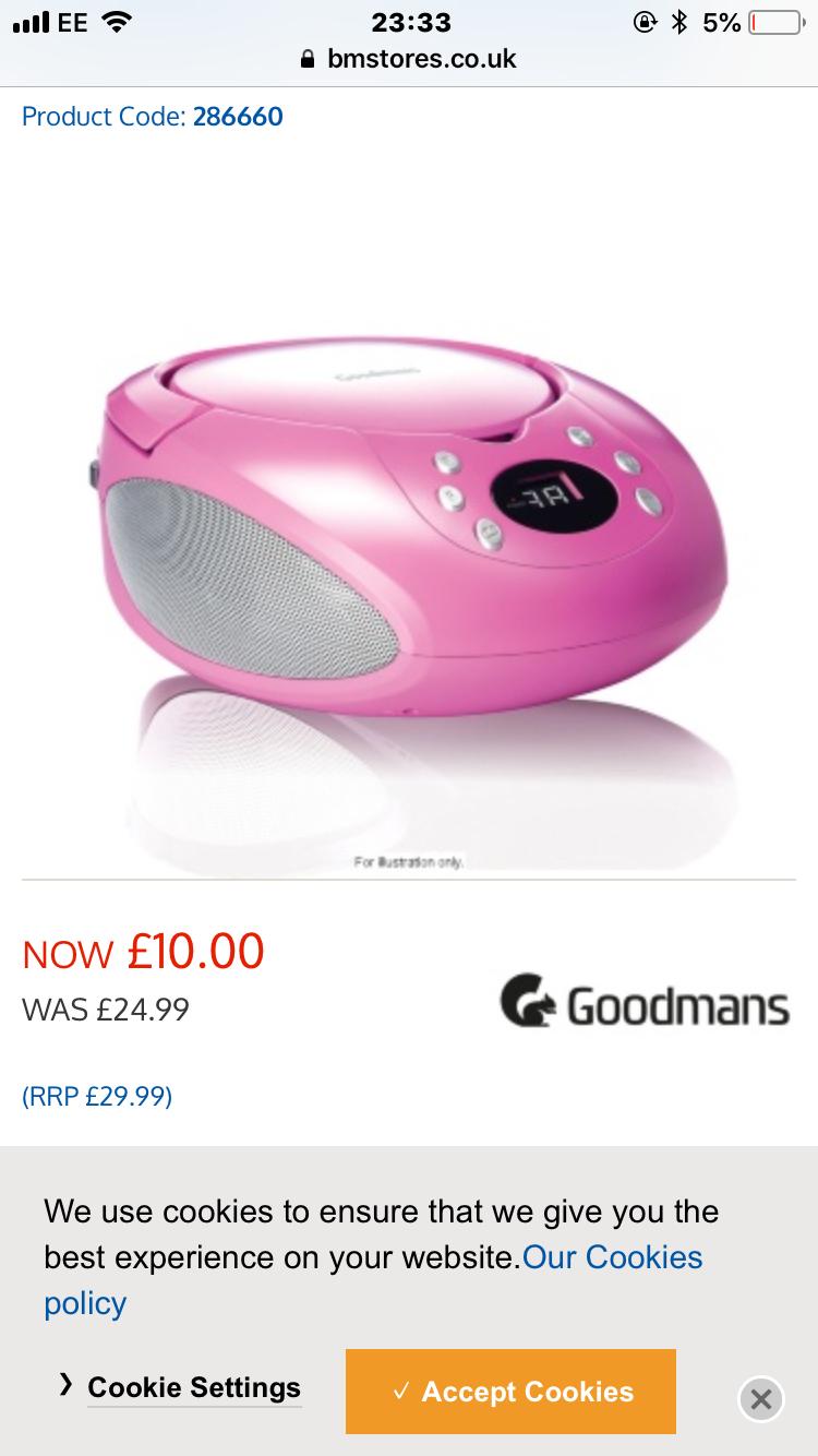 Goodmans cd boombox £10 at b&m
