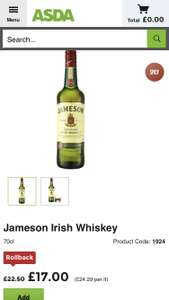 Jameson Irish Whiskey 70cl only £17 @ Asda