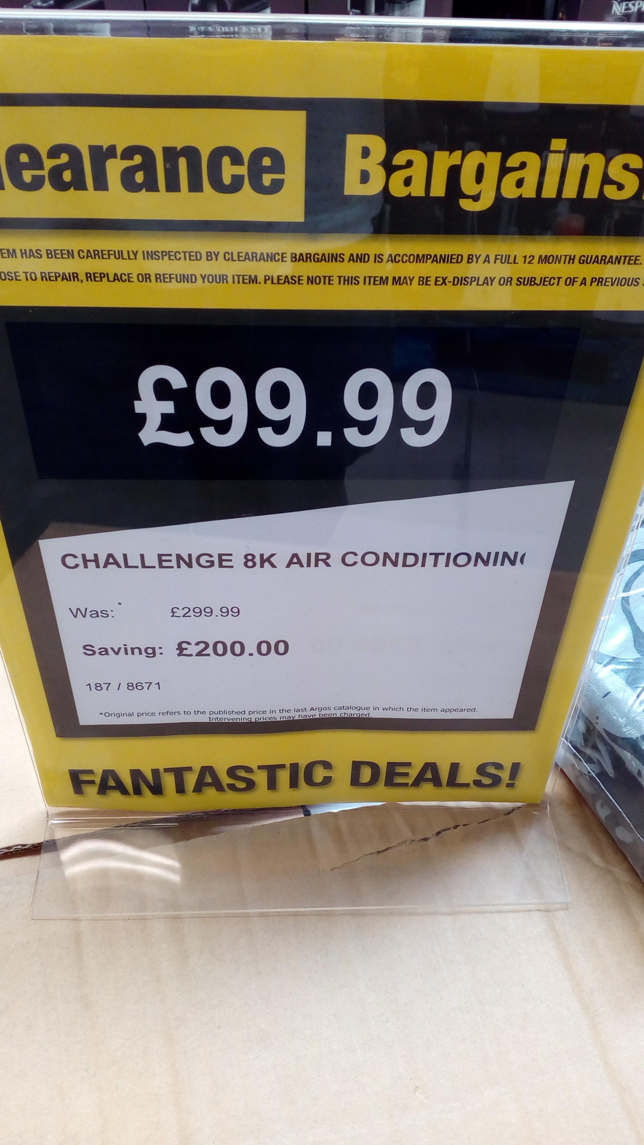 Challenge 8000BTU Air Conditioner £79.99 at Argos Clearance Bargains (Durham)