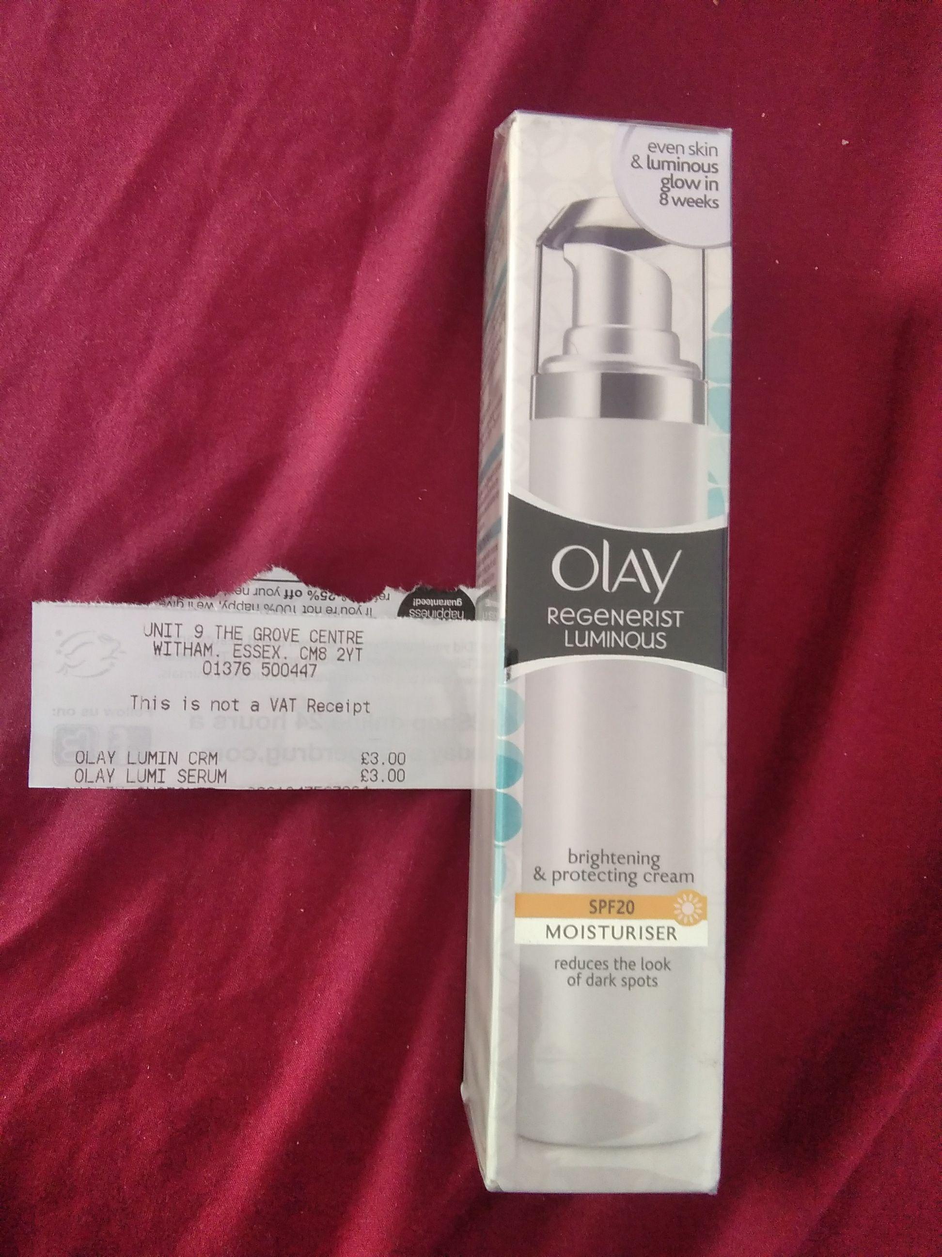 Olay Regenerist Luminous SPF20 Moisturiser £3 in Superdrug