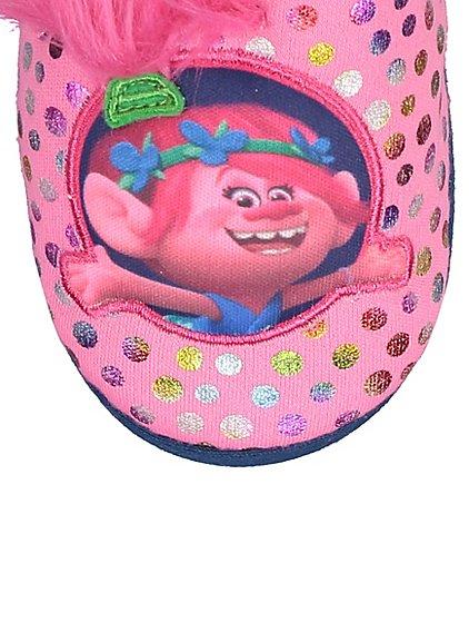 Trolls Princess Poppy ' 100% happy' slippers : full range of sizes 4 - 12 jnr now £4 @ Asda C+C