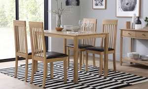 Milton Oak Dining Table - with 4 Oxford Chairs (Brown Seat Pad) - £249 @ Furniture Choice