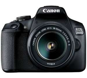 Canon EOS 2000D DSLR Camera Body with 18 - 55mm Lens Plus SanDisk Extreme 90MBs SD 4K Ready Memory Card - 32GB £316.98 &  possible Cash Back £40 at Argos