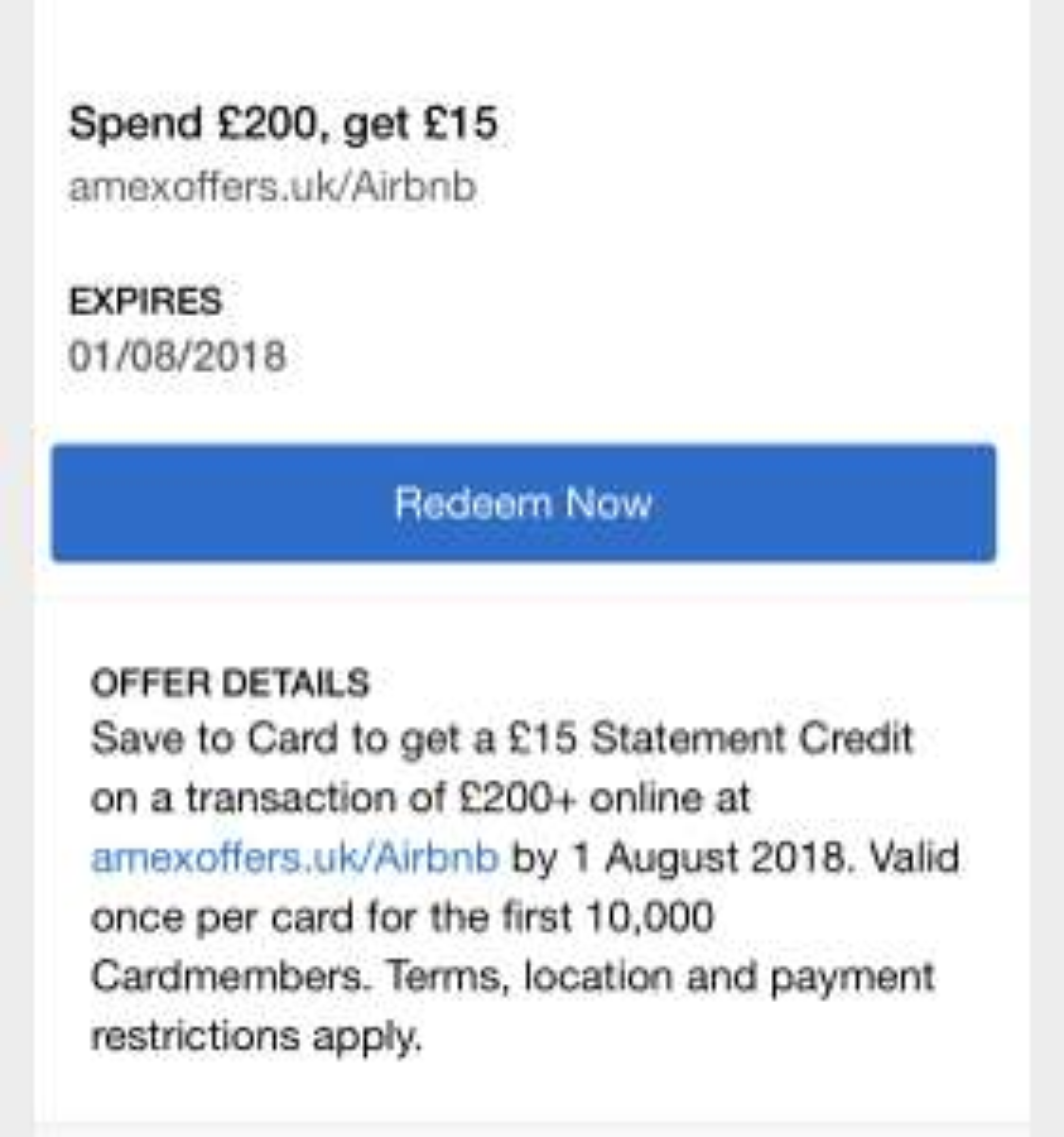 Amex Airbnb Offer - Spend £200, get £15 statement credit