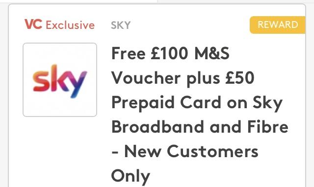Sky Broadband/Fibre £100 M&S voucher & £50 MasterCard 12m £22/£19.95 setup (£283.95 - £150 = £133.95) @ VC