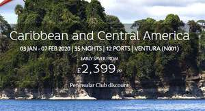 35 night Caribbean and Central America cruise with P&O Cruises, 3 January 2020, Ventura - Caribbean And Central America ' (Southampton - Southampton) from £2399pp