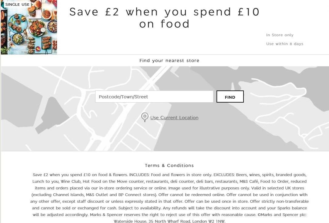 M&S Sparks £2 off £10 spend on Food - Sparks card holders