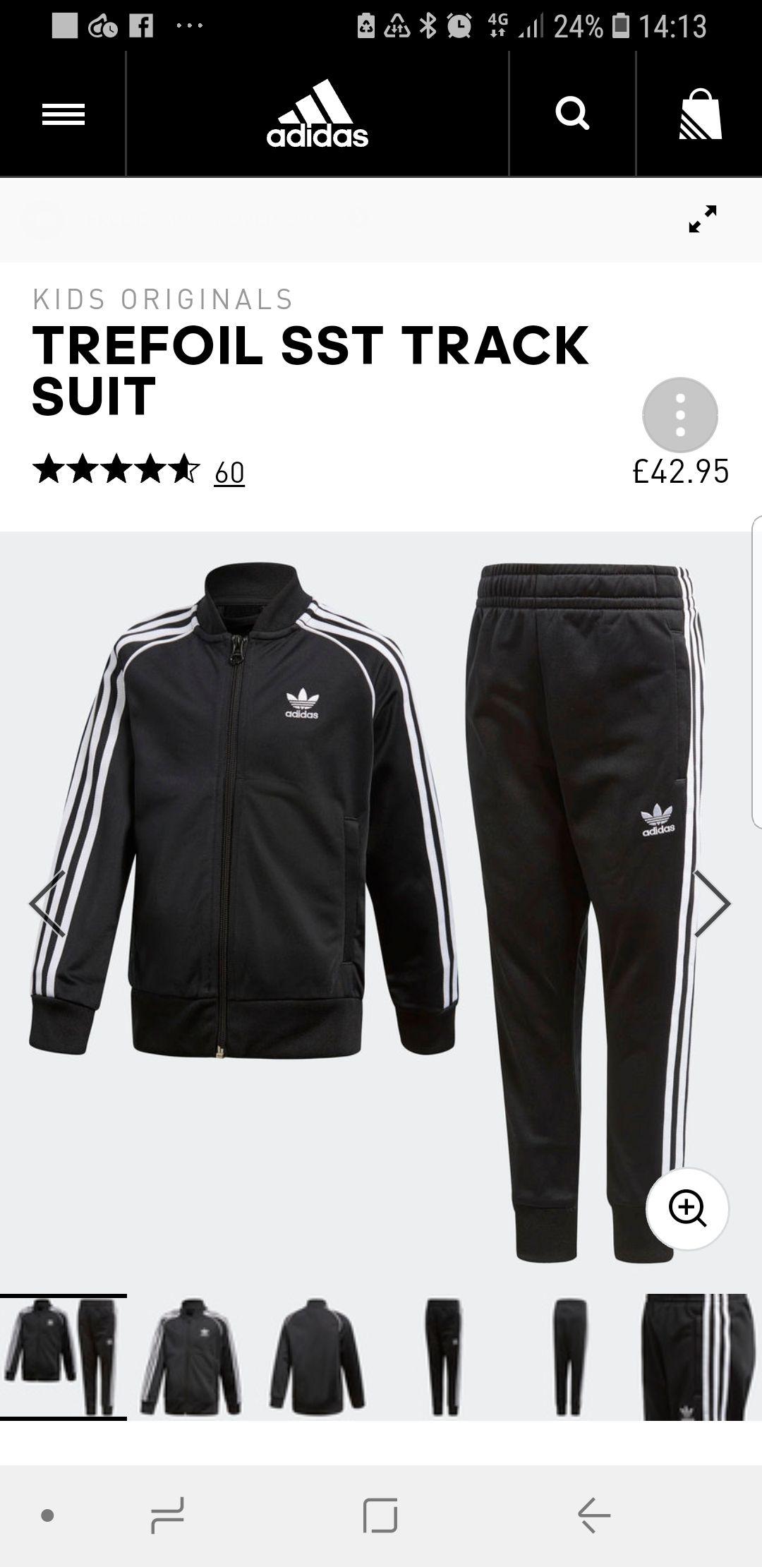 Adidas originals superstar black tracksuit sizes 4-8 £42.95 / £36.50 with code @ Adidas
