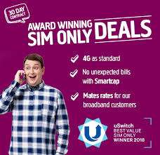 6GB 4G Data - 2500 Mnutes - Unlimited Texts - 30 Days Sim - £10 Month @ Plusnet Mobile (uSwitch Exclusive)