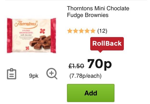 Asda thornton brownies - 70p
