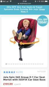 Joie spin 360 car seat at Smyths for £191.99