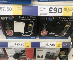 BT 4600 cordless phone twin (single £20.50) reduced to clear £27.50 instore @ Tesco