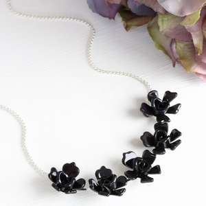 Acrylic Multi Rose Necklace in Black free@Lisa Angel + Free Del