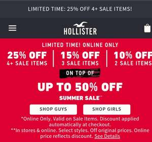 25% off when buying 4 sale items or more at Hollister