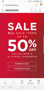 Sale items up to 50% off Monsoon online