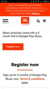 Google play music 3 months free at JBL