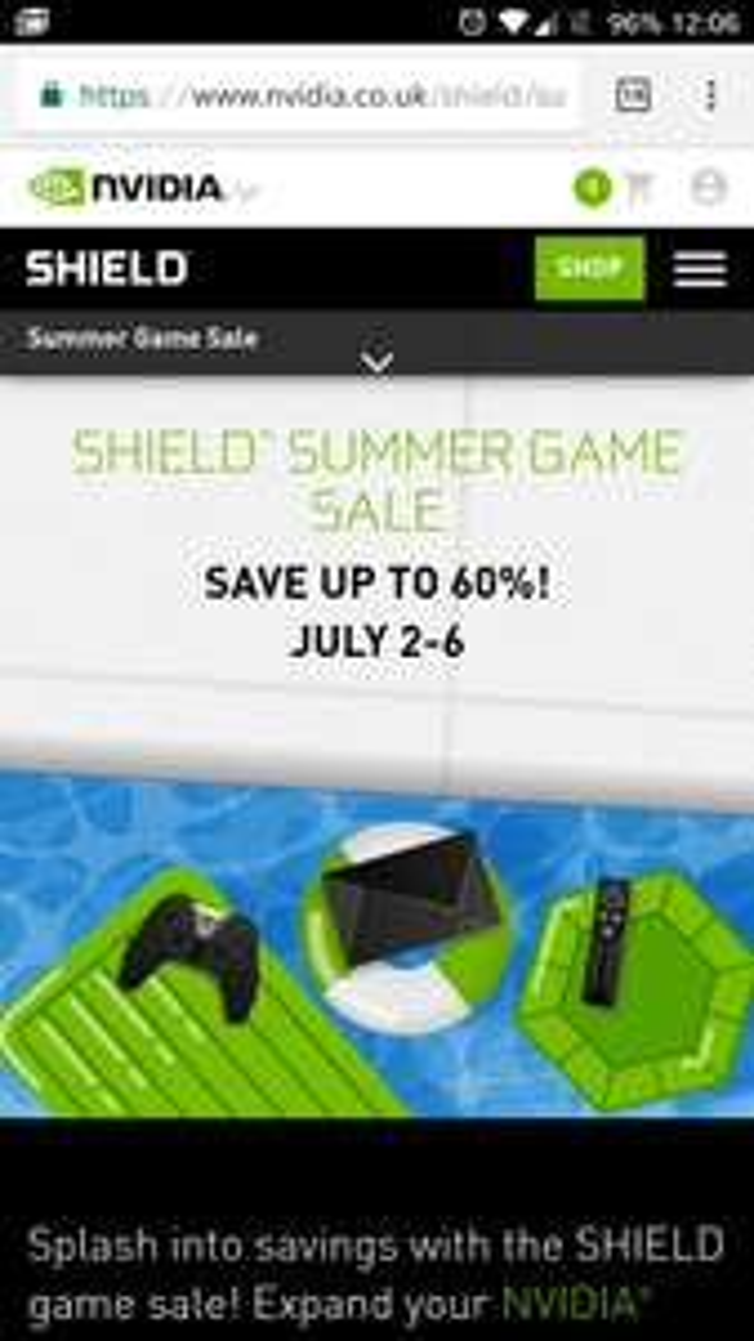 nvidia shield sumer game sale