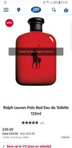 Ralph Lauren Polo Red Eau de Toilette 125mlWAS £64 NOW £30 at Boots