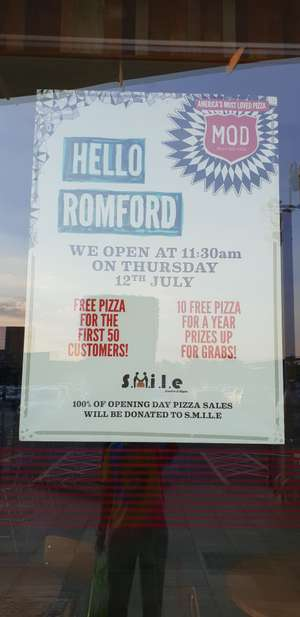 Free Pizza @ MOD Pizza Romford for first 50 customers (on 12th July)
