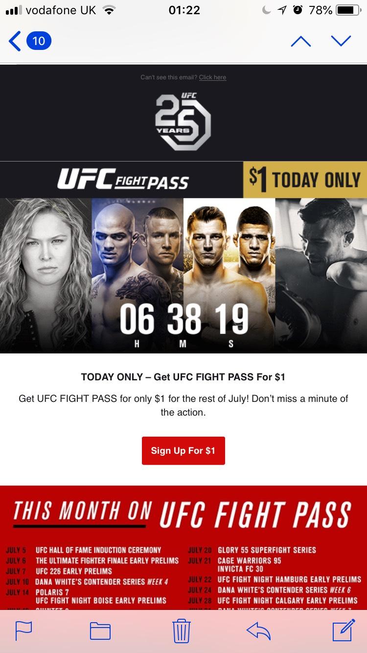 UFC FightPass 1$ using code