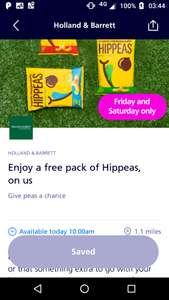 FREE pack of Hippeas from Holland & Barrett via O2 Priority App