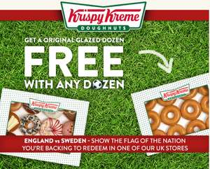 Free orginal glazed Dozen when you buy any other dozen @ Krispy Kreme 6th / 7th July