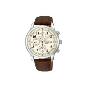 Seiko SNDC31P1 Men's Chronograph Leather Strap Watch, £89.50 @ John Lewis