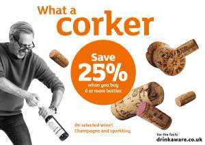 25% off 6 bottles of wine priced £5 and over from 11th - 15th July exc Scotland - Magnum of Prosecco will be £12.37 @ Sainsburys