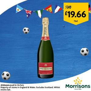 Piper-Heidsieck Cuvee Brut Champagne 750ml was £30 now £19.66 for rest of World Cup online and instore @ Morrisons