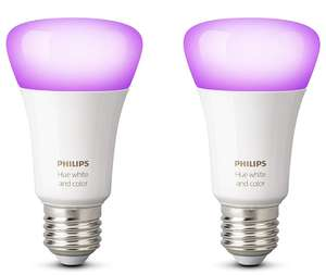 Philips Hue White and Colour Ambience Personal Wireless Lighting 2 x 9.5 W E27 Edison Screw LED Twin Pack Light Bulbs, Apple HomeKit Enabled, Works with Alexa [Energy Class A+] £64.05 @ Amazon