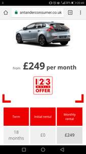 Volvo V40 T2 Momentum Nav Plus Manual 18 month lease £249 per month £249 up front no admin fee 10k miles @ Santander consumer finance (123 World customers only)