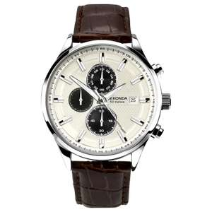 Sekonda 1177.00 Men's Chronograph Date Leather Strap Watch, Dark Brown/Cream Half Price for £45 @ John Lewis with Free Click & Collect