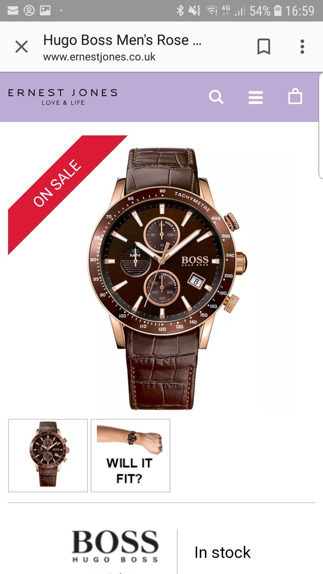 Hugo Boss Men's Rose Gold Tone Strap Watch - £134.10 with newsletter sign up @ Ernest Jones