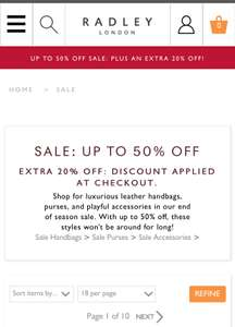 Radley - Extra 20% off on top of sale prices - applied at checkout