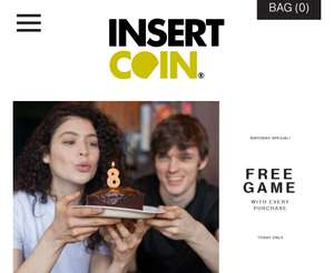 Free game with every order at insert coin today only